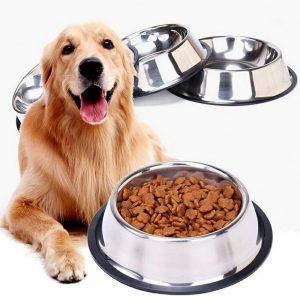 Rozsdamentes acéletető, itató tál kutyáknak és macskáknak