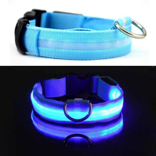 LED-es világító nyakörv - kék