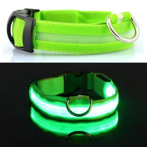 LED-es világító nyakörv - zöld