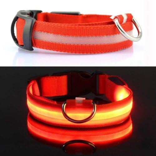 LED-es világító nyakörv - piros